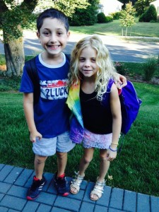 Charlie and Savanna 1st day of school Sept 4 2014