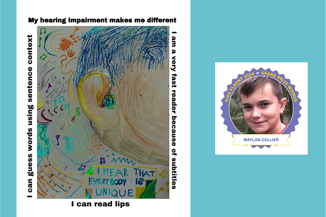 artwork drawn to show hearing aide worn by student