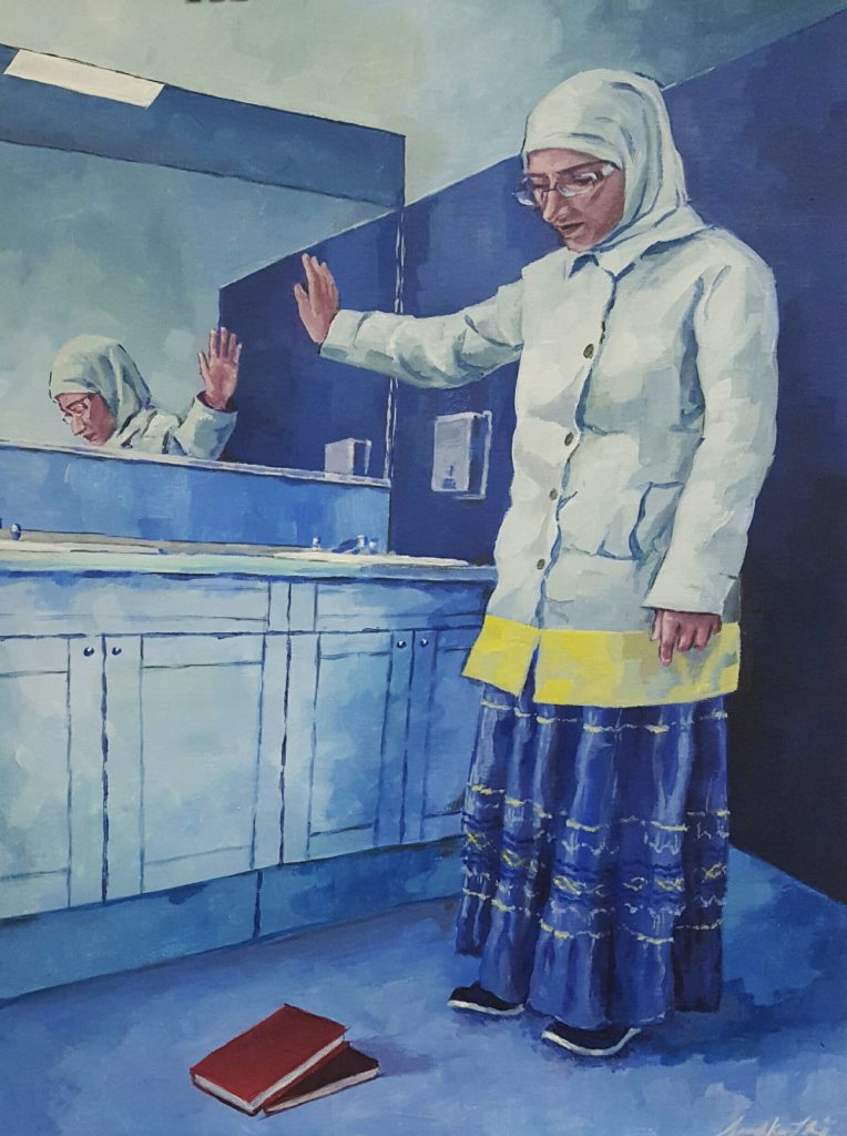 Drawing of woman standing facing away from mirror, pensive. Wearing a hijab and arm in the air